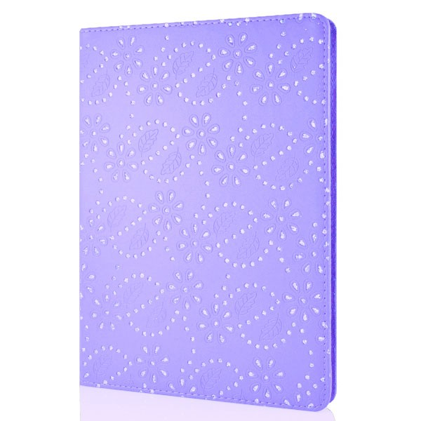 Mappe Etui for iPad Air Glitter Blomst Lilla