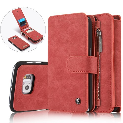 2i1 Etui m/kortlommer for Galaxy S6 Retro Rød