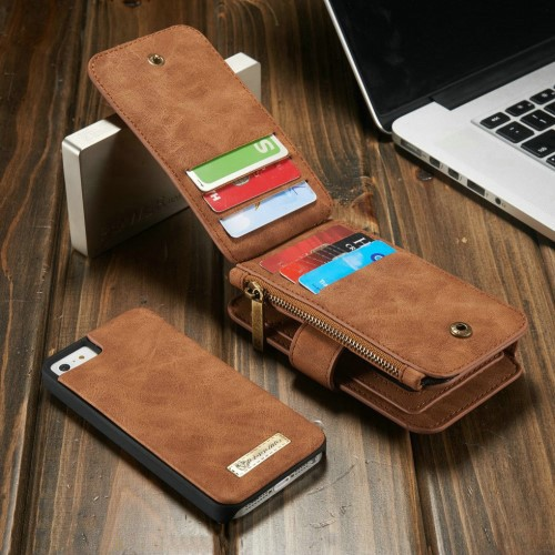 2i1 Etui m/kortlommer for iPhone 5/5s/SE Retro Brun