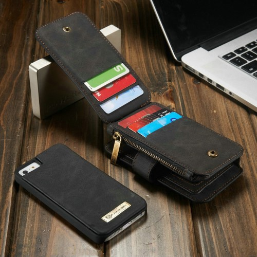 2i1 Etui m/kortlommer for iPhone 5/5s/SE Retro Svart
