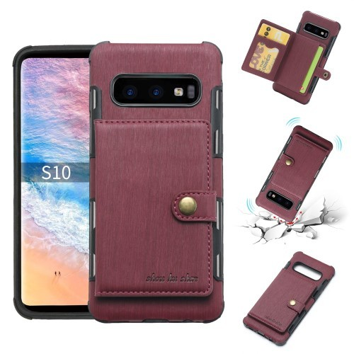 Galaxy S10 Deksel Wallet Brushed Rød