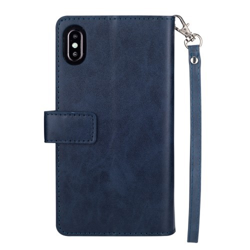 iPhone Xs Max Lommebok Etui Zipper - Midnattsblå