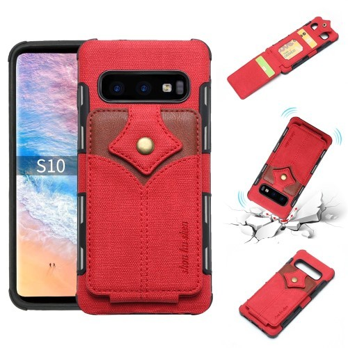 Galaxy S10 Deksel Wallet Buckle Rød