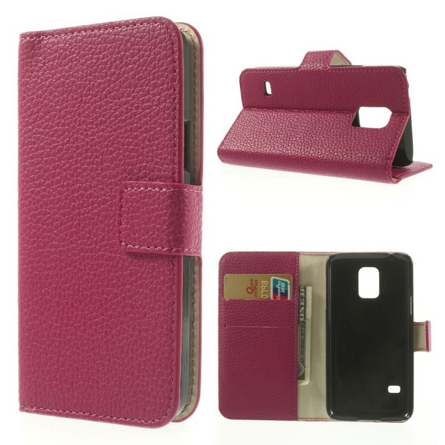 Lommebok Etui for Samsung Galaxy S5 Mini Classic Rosa