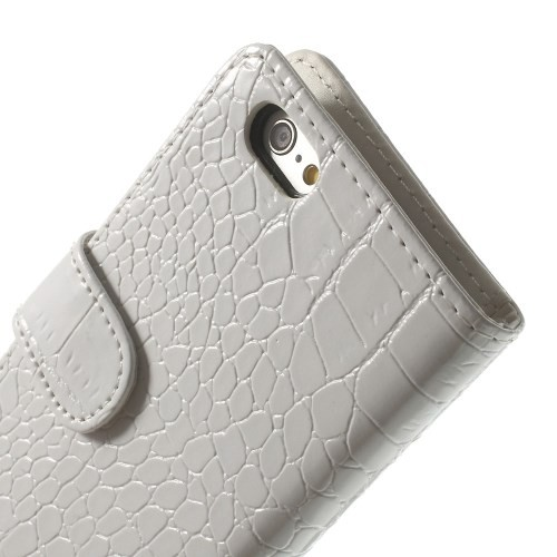 Etui for iPhone 6 Croco m/kortlommer Hvit