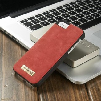 2i1 Etui m/kortlommer for iPhone 5/5s/SE Retro Rød