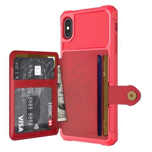 iPhone Xs Max Deksel Armor Wallet Rød
