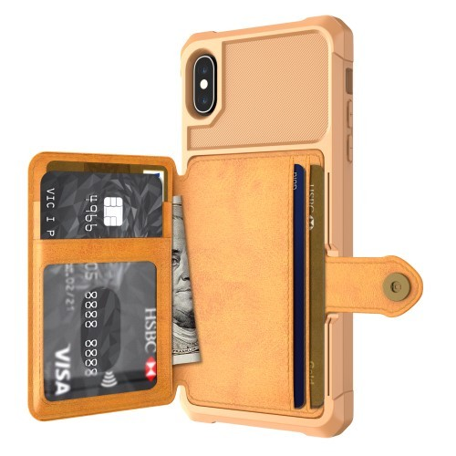 iPhone Xs Max Deksel Armor Wallet Ingefærbrun