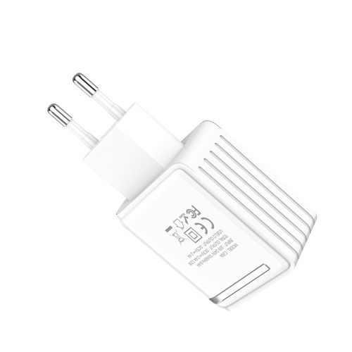 Dobbel USB 240V Lader Adapter for Veggkontakt Hvit