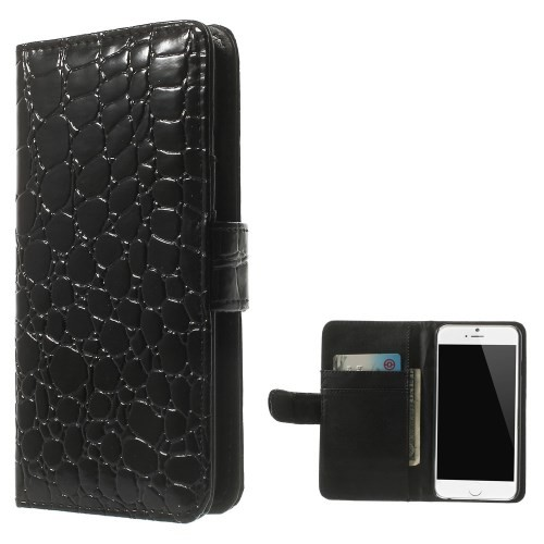 Etui for iPhone 6 Croco m/kortlommer Svart
