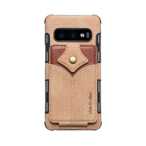 Galaxy S10 Deksel Wallet Buckle Lys Brun