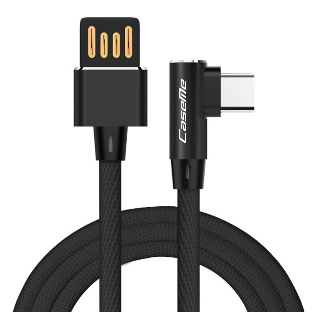 USB Sync og ladekabel Type C (L-shaped) 1 Meter Svart
