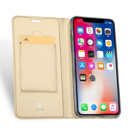 iPhone XR 6,1 Slimbook Etui med 1 kortlomme - Gull farget