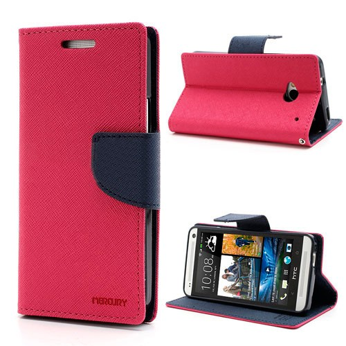 Lommebok Etui for HTC One (M8) Mercury Mørk Rosa