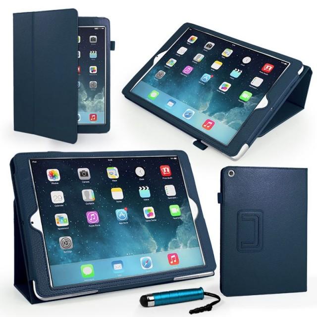 Mappe Etui Premium for iPad Air Mørk Blå