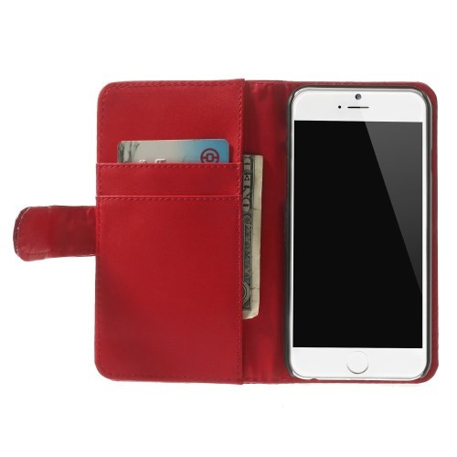 Etui for iPhone 6 Croco m/kortlommer Rød