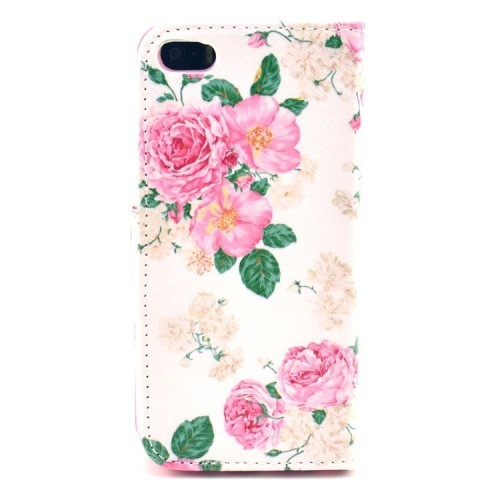 iPhone 5/5s/SE Etui m/kortlommer Art - Rose