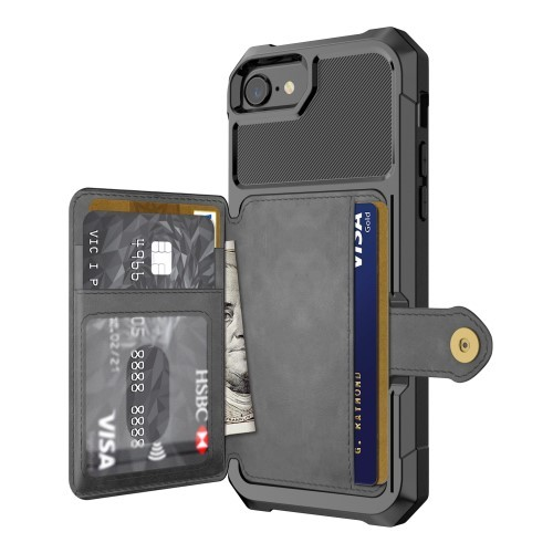 iPhone 6 / 7 / 8 Deksel Armor Wallet Svart