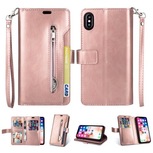 iPhone Xs Max Lommebok Etui Zipper - Rosa