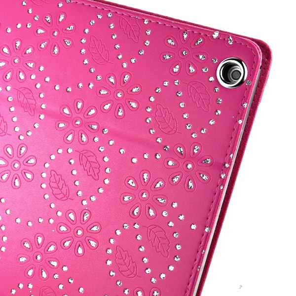 Mappe Etui for iPad Air Glitter Blomst Rosa
