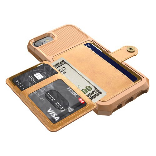 iPhone 6 / 7 / 8 Deksel Armor Wallet Ingefærbrun
